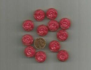"Vintage Hot Pink 3D Floral Shank Buttons 3/4"" Lot of 12"
