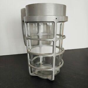 Vintage McPhilben Model P-1130 Industrial Cast Aluminum Glass Light Lamp MCM