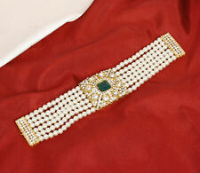 Indian Bollywood Gold Tone Pearl Wrist Bracelet Green Kundan Fashion Jewelry