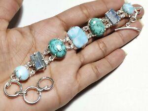 Natural Turquoise Larimar Kyanite Gemstone Fashion Jewelry Silver Bracelet