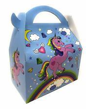 AEX 6 X Feliz Cumpleaños para Niños Fiesta Bolsa Almuerzo Cajas De Regalo (Unicornio Azul)