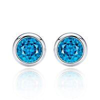 2 ct. Swiss Blue Topaz Bezel Round Basket Stud Earrings set in Sterling Silver