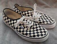 Vans Black Cream Checker Lace Up Skater Shoes Men's 10.5 Preowned