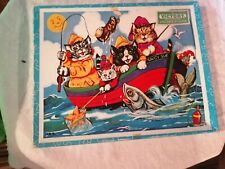 Vintage Victory children's wooden jigsaw puzzle of cats in a fishing boat 42 pcs