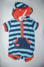 M&S  Shortie Romper with Hood 100% Cotton Blue Striped Age Newborn BNWOT
