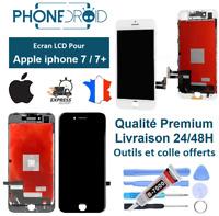 Écran complet LCD + vitre tactile Iphone 7/7+ Blanc Noir + Outils, stock FR