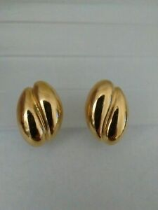 Vintage 80s Clip Ons Gold Tone Costume Jewellery Clip On Earrings