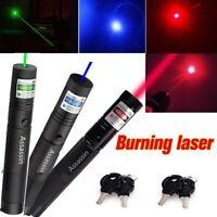 3PCS 800Miles Green+Blue Purple+Red Laser Pointer Lazer Pen Visible Beam Bright