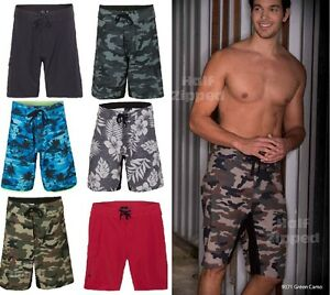 Burnside Camo Diamond Dobby Board Shorts 9371 30-40 Swim Trunks 6 Colors!