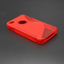 HOUSSE ETUI COQUE SILICONE GEL ROUGE APPLE IPHONE 4 / 4S