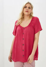 Ex EVANS Pink Scoop Neck Short Sleeve Button Front Top Size 14 - 30 RRP £24