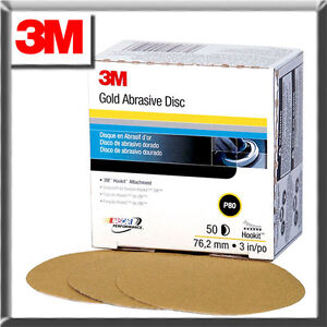 "3M 0914 3"" 320 GRIT Hookit Gold Abrasive Sandpaper Sanding Disc 50/Box"