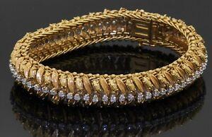 Italian heavy 18K yellow gold 1.92CT VS2/G diamond floral 13.5mm wide bracelet