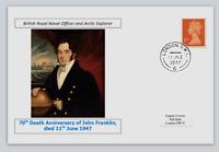 GB 2017 70th death anniv  John Franklin antarctic explorer militaria postal card