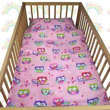 baby BEDDING set crib cot Owls Pink DUVET bumper MOSES BASKET sheet GIRL