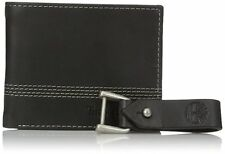 Timberland Men's Black Leather Slimfold Wallet with Matching Fob Gift Set NP0366