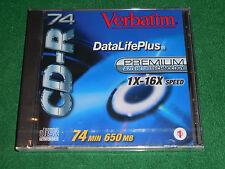 Verbatim CD-R 74 650 MB 1X-16X Speed 74 Min Disc AZO Blue Technology New Sealed