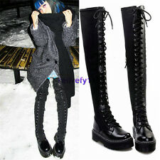 Womens Lace Up Cow Leather Thigh High Punk Boots Over The Knee High Long Booties
