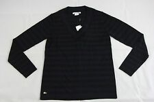 BNWT Lacoste Black Blue Striped Merino Wool Sweater Sz 4 AF4442 100% Authentic