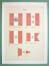 PERU Naval Flags Captain of Port Vice Admiral - 1899 Color Litho Print