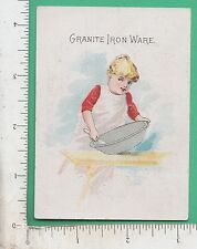 9966 Granite Ironware trade card agateware D. A. Clark Van Wert, OH cooking food
