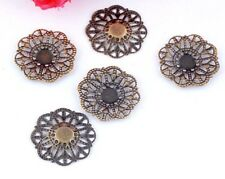"Lot of 5 SMALL FLOWER Antique Bronze-tone FILIGREE WRAPS 7/8"" (21mm) (0318)"
