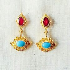 Tempting Ruby & Turquoise 14K Gold Vermeil Over Sterling Silver Earring
