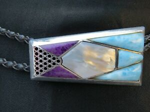 FABULOUS INLAID STERLING SILVER BOLO TIE BY C. SMILEY