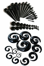 48pc Starter Black Ear Stretching Kit Set 00G-14G Tapers Plugs Spirals gauges