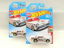 HOT WHEELS '57 CHEVY - Holiday Racers #4 - Valentine's Day - HW 50th - Lot of 2