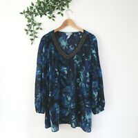 Catherines Beaded V Neck Pleated Long Sleeve Sheer Blouse Top Plus 0X Blue