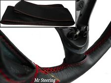 BLACK LEATHER STEERING WHEEL COVER RED STITCHING FOR AUSTIN A40 SOMERSET 1952-54