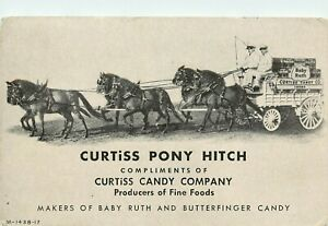 Vintage Advertising Blotter; Curtiss Candy Co. Pony Hitch 6 Horse Team