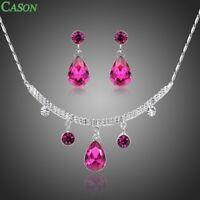 Fuchsia Austrian Crystal White Gold Jewelry Set Women Necklace Drop Earrings Set