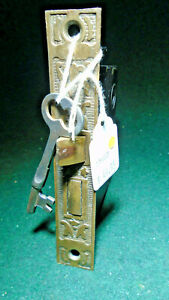 VINTAGE EASTLAKE MORTISE LOCK w/KEY - PROBABLY NORWICH RECONDITIONED (13854)