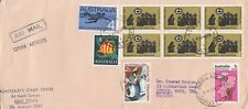 K 387 Adelaide SA air mail 1973 other articles rate UK; 53c rate; 10 stamps