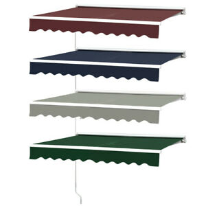 Retractable Patio Awning Garden Sun Shade Shelter Manual Alumin Canopy Sunsetter