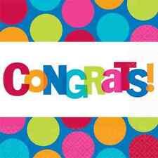 Cabana Dot Polka Bright Grad Retirement Party Paper Beverage Napkins - Congrats