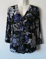WOMEN'S CHICO'S TRAVELER'S FLORAL 3/4 SLEEVE STRETCHY SLINKY TOP SIZE 0 SMALL