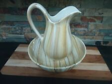 VINTAGE PITCHER AND WASH BASIN-ITALY-BEIGE BROWN WHITE PATTERN-PORCELAIN