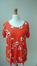BNWT Bright Orange With Black + White Floral Print GEORGE Top Back Ties Size 14