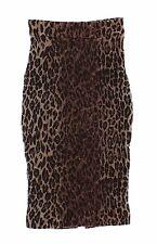 NWT $1060 DOLCE & GABBANA Leopard Wool Silk Knee Length Penci Skirt IT36 / US2