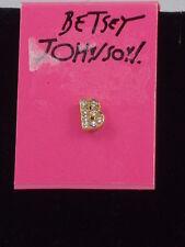 Betsey Johnson Goldtone Clear Crystal Letter Initial B Single Stud Earrings