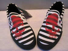 NEW UNDERGROUND SHOES SKULL JAiLHOUSE STRiPE PiRATE BOAT SNEAKERS EMO UK8 EURO42