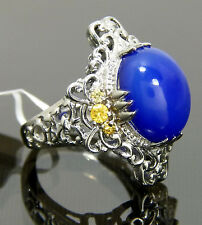 Huge Genuine Blue Chalcedony & Perfect LC  Yellow Sapphire Ring Platinum / Brass