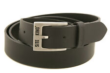 Mens SITE KING Heavy Duty Leather Work Belts Size 28 to 56 GENUINE BLACK LEATHER