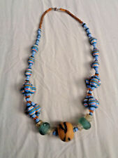 hand made Beads stones Ghanaian Jewelry Necklace with chunky multi coloured aqua