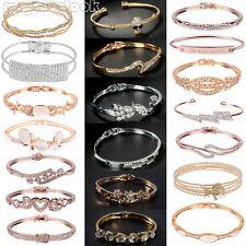 Damen Edelstahl Armreif Kristall Strass Armband Armspange Schmuck Gold bracelet