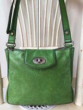 FOSSIL Green Apple Leather Crossbody Messenger Shoulder Bag Handbag Turnlock