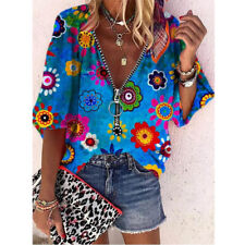 Summer Women Half Sleeve V Neck T Shirt Zipper Tops Casual Loose Blouse Tunic